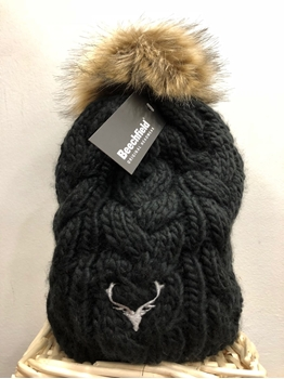 Picture of Fur Pom Pom Black Cable Beanie