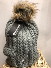 Picture of Faux Fur Pom Pom Beanie (Grey)