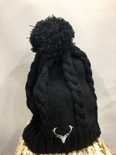 Picture of Cable Knit Pom Pom Beanie (Black)