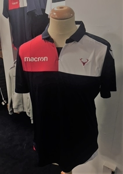 Picture of Navy Nunki Polo Top by Macron with Stag Logo