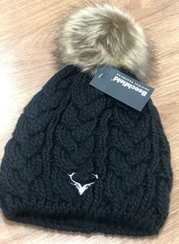 Picture of Black Cable Knit Bobble Hat
